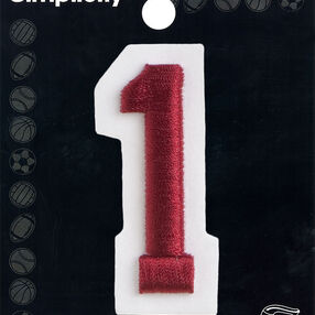"""2"""" Raised Embroidery Number Iron On, Red"""