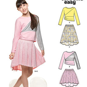 Girl's Skirts and Knit Top