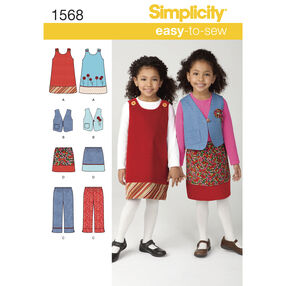 Simplicity Pattern 1568 Child's Jumper, Vest, Pants and Skirt