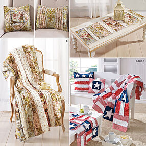 Rag Quilted Throws, Pillows and Bench and Table Runners
