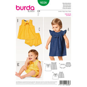 Burda Style Pattern B9358 Baby Dress, Top and Panties