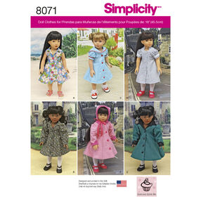 "Simplicity Pattern 8071 Vintage Inspired 18"" Doll Clothes"