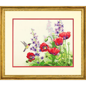 Hummingbird and Poppies, Counted Cross Stitch_70-35344