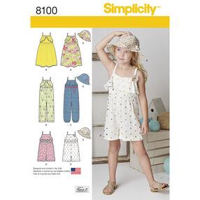 Pattern 8100 Child's Jumpsuit, Romper, Dress and Hat
