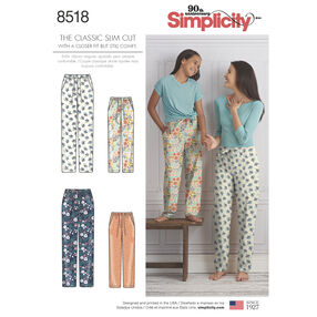 Simplicity Pattern 8518 Girls' and Misses' Slim Fit Lounge Pants