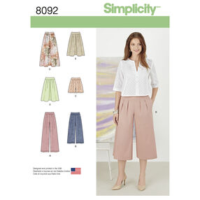 Simplicity Pattern 8092 Misses' Skirts, Pants, Culottes and Shorts