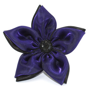 Black Double Fabric Pin & Clip Flower_56-63064