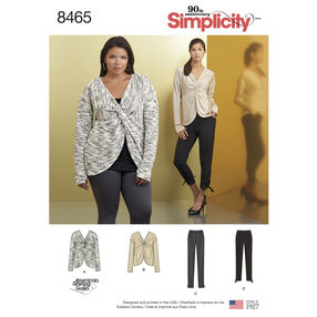 Simplicity Pattern 8465 Misses' Knit Twist Tops with Pants