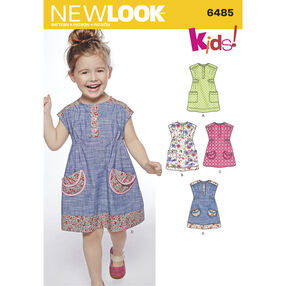 New Look Pattern 6485 Toddlers' Dress or Tunic with Fabric Variations