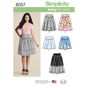 Simplicity Pattern 8057 Misses' Easy-to-Sew Skirts in Three Lengths