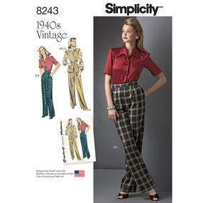 Simplicity Pattern 8243 Misses' Vintage 1940s Sportswear