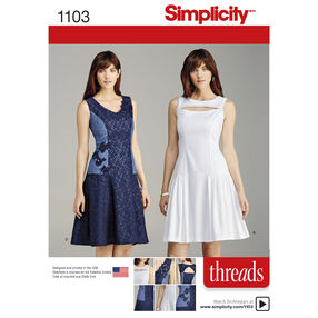 Simplicity Pattern 1103 Misses' Dress with Bodice and Skirt Variations