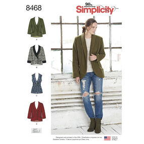 Simplicity Pattern 8468 Misses' Unlined Jacket and Vest