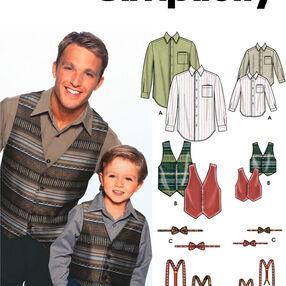 Boys and Men Shirt, Vest, Bow Tie & Suspenders