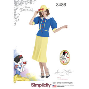 Simplicity Pattern 8486 Misses' 1930s Snow White Dress and Hat