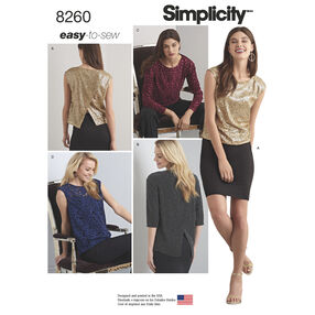 Simplicity Pattern 8260 Misses' Top in Two Lengths with Back Interest