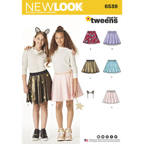 New Look Pattern 6539 Tween Skirts with Ears Headband