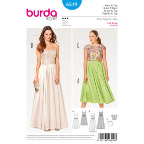 Burda Style Pattern B6519 Misses' Lace Top Strap Dress