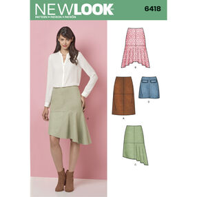 New Look Pattern 6418 Misses' Skirts with Length and Hemline Variations