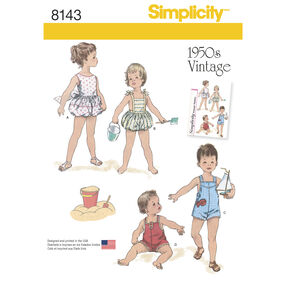 Simplicity Pattern 8143 Vintage Set of One Piece Play Suits for Babies