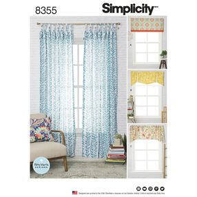 "Simplicity Pattern 8355 Window Treatments, Fits Windows 39-1/2"" Wide x 63"" Long"