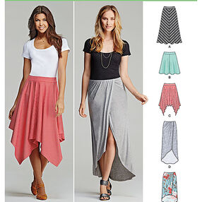 Misses' Pull-On Knit Skirts with Length Variations