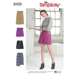 Simplicity Pattern 8459 Misses' Skirts with Length and Front Variations