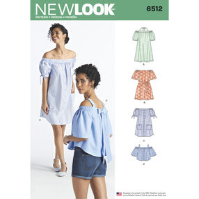 New Look Pattern 6512 Misses' Dresses and Tops in Two Lengths with Sleeve Variations