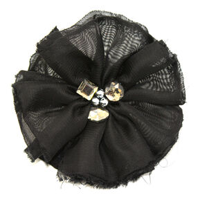 Black Billow with Gems Pin & Clip Flower_56-63033