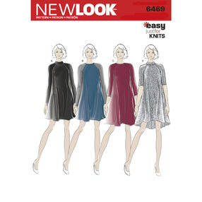 New Look Pattern 6469 Misses' Easy Knit Dress with Length and Sleeve Variations