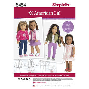 "Simplicity Pattern 8484 American Girl 18"" Doll Clothes"