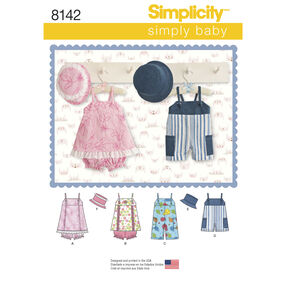 Simplicity Pattern 8142 Babies' Romper in Two Lengths, Jumper, Panties and Hat