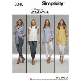Simplicity Pattern 8340 Misses' Shirts with Length & Sleeve Variations, Inspired by Project Runway