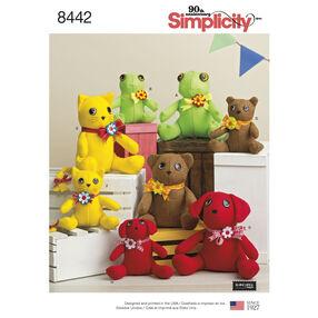 Pattern 8442 Felt Stuffed Animals in Two Sizes