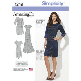 Simplicity Pattern 1249 Misses' & Miss Plus' Amazing Fit Dress in Two Lengths