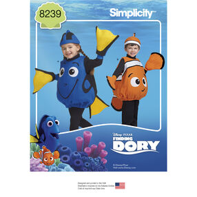 Simplicity Pattern 8239 Disney Finding Dory Costumes for Toddlers