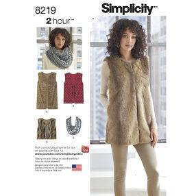 Simplicity Pattern 8219 Misses' Line Vest in Three Lengths