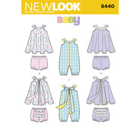 Pattern 6440 Babies' Romper and Sundress with Panties