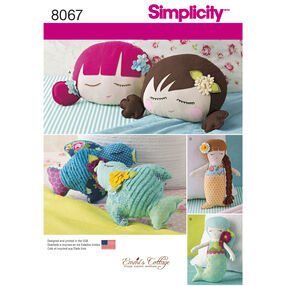 Simplicity Pattern 8067 Stuffed Doll Face Pillows, Mermaids and Birds