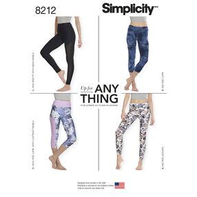 Simplicity Pattern 8212 Misses' Knit Leggings