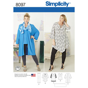 Pattern 8097 Plus Size Tunic, Top, Kimono and Knit Leggings