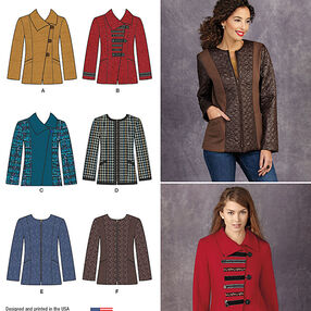 Misses' Jacket with Front & Fabric Variations