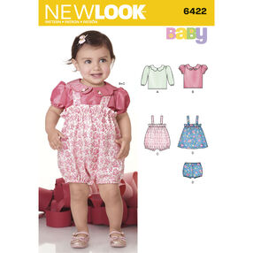 New Look Pattern 6422 Babies' Blouse, Romper, Jumper and Panties