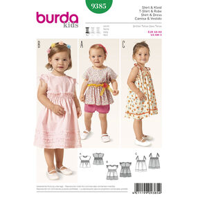 Burda Style Pattern 9385 Toddlers Shirt and  Dress