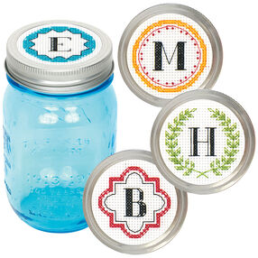 Monogram Jar Toppers, Counted Cross Stitch_72-74305