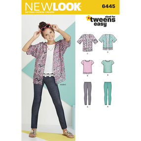 New Look Pattern 6445 Easy Girl's Kimono, Knit Top and Leggings