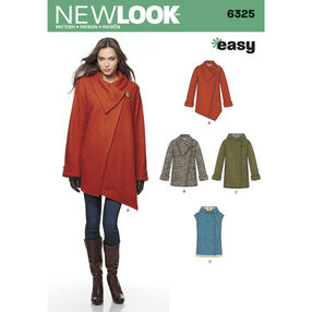 Misses' Easy Coat with Length and Front Variations, and Vest