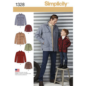 Simplicity Pattern 1328 Boys' and Men's Shirt Jacket