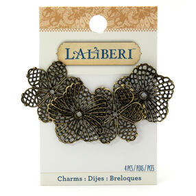 Brass Filigree Flower Charms_56-13180