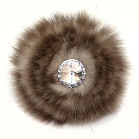 Tan Fur Bling Pin & Clip Flower_56-63044